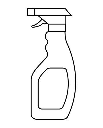 plastic bottle spray hygiene cleaning vector illustration outline image