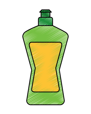 Plastic bottle detergent for dishwashing liquid cleaning laundry vector illustration Illustration