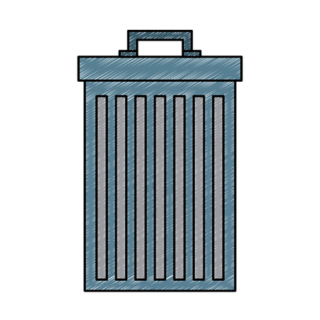 Gray trash can container garbage vector illustration Vettoriali