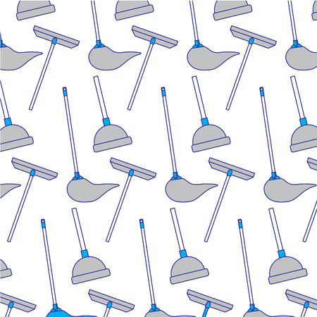 Cleaning equipment scraper mop plunger background vector illustration