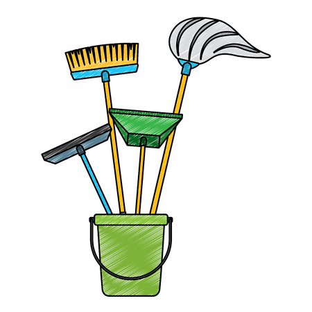 Cleaning objects plastic bucket full of janitor cleaning helpful vector illustration Çizim