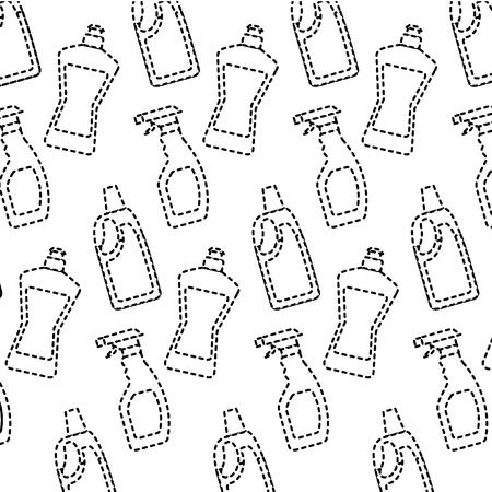 bottle detergent and spray clean domestic wallpaper hygiene vector illustration