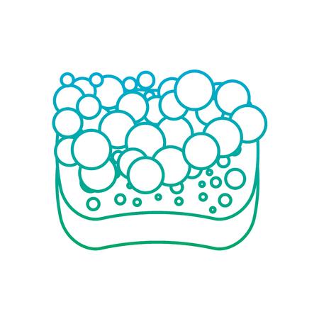 sponge bubbles foam soap clean vector illustration degrade line color Illustration