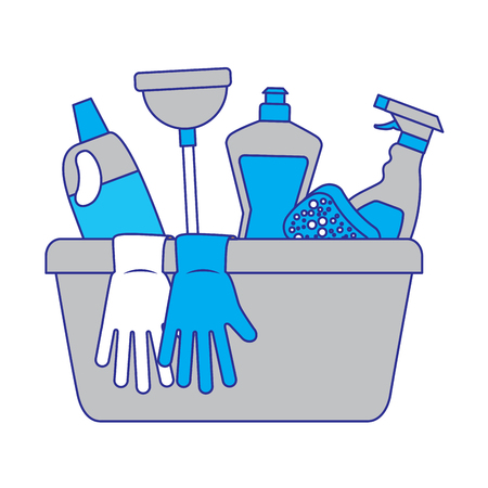 container with cleaning supplies gloves plunger sponge spray bottle and detergent vector illustration blue and gray design