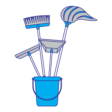 cleaning objects plastic bucket full of janitor cleaning helpful vector illustration blue and gray design Stock Illustratie