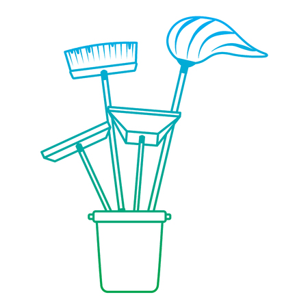 cleaning objects plastic bucket full of janitor cleaning helpful vector illustration degrade line color Stock Illustratie