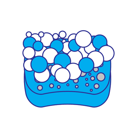 sponge bubbles foam soap clean vector illustration blue and gray design