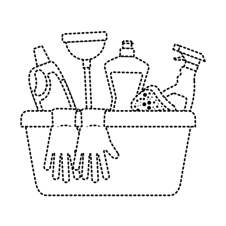 container with cleaning supplies gloves plunger sponge spray bottle and detergent vector illustration Illustration