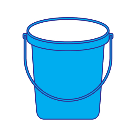 bucket plastic cleaning element tool handle vector illustration blue and gray design