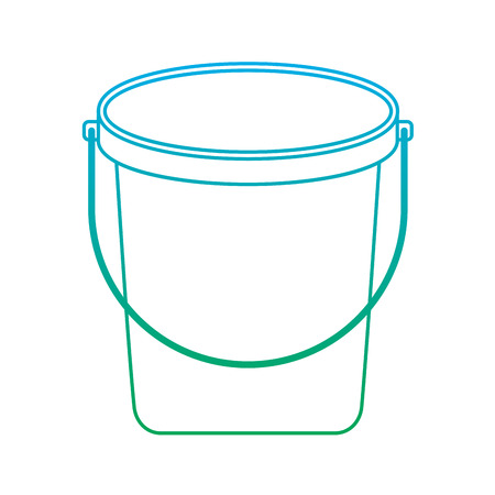 bucket plastic cleaning element tool handle vector illustration degrade line color  イラスト・ベクター素材