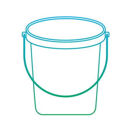 bucket plastic cleaning element tool handle vector illustration degrade line color Иллюстрация