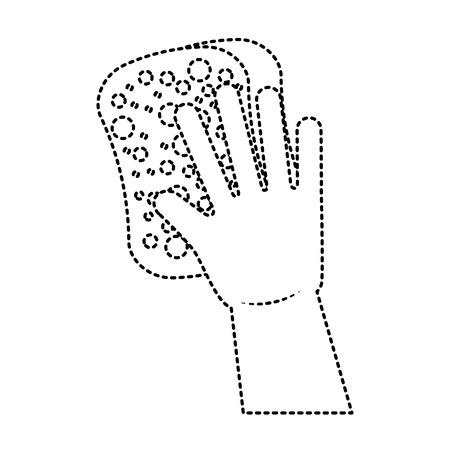Guantes de limpieza y equipos de esponja funcionan ilustración vectorial Foto de archivo - 95581243
