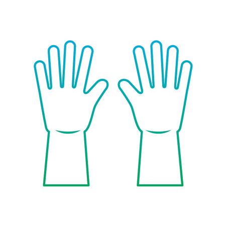 Guantes de limpieza de equipos de goma trabajo ilustración vectorial degradar el color de la línea Foto de archivo - 95581250