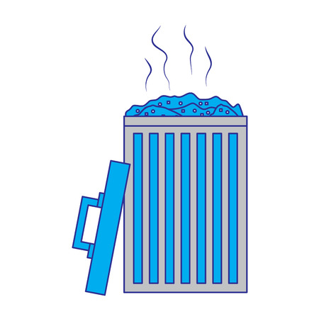 open bin with garbage cap handle vector illustration blue and gray design