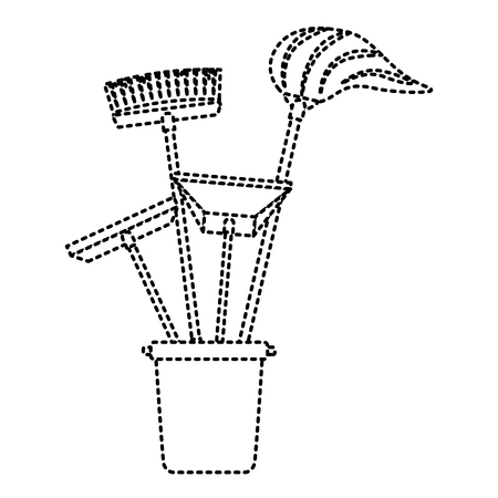 cleaning objects plastic bucket full of janitor cleaning helpful vector illustration