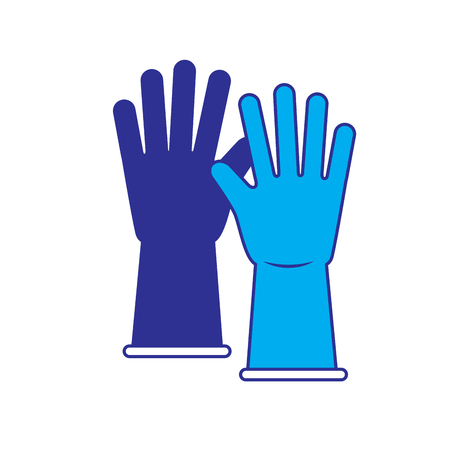 gloves cleaning rubber equipment work vector illustration blue and gray design