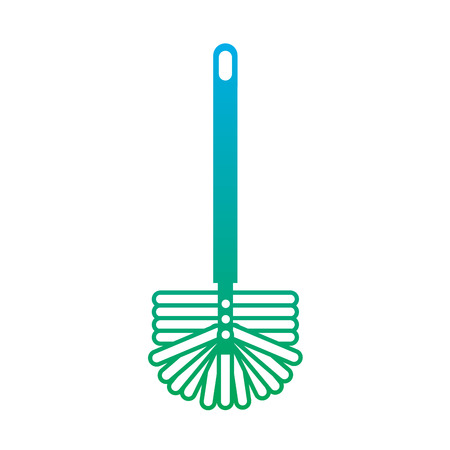 toilet brush handle sanitary clean icon vector illustration degrade line color 일러스트