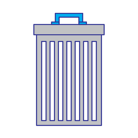 trash can container garbage recycling vector illustration blue and gray design