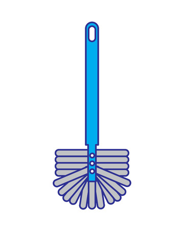 toilet brush handle sanitary clean icon vector illustration blue and gray design