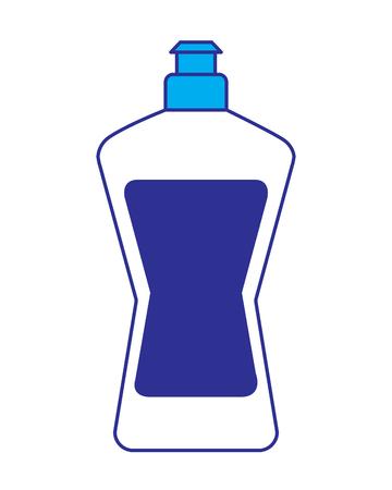 Botella de plástico detergente para lavavajillas líquido limpieza lavandería ilustración vectorial diseño azul y gris Foto de archivo - 95581354