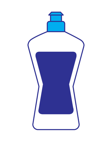 plastic bottle detergent for dishwashing liquid cleaning laundry vector illustration blue and gray design