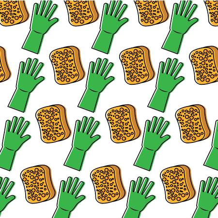 cleaning hygiene sponge and gloves wallpaper vector illustration Vettoriali