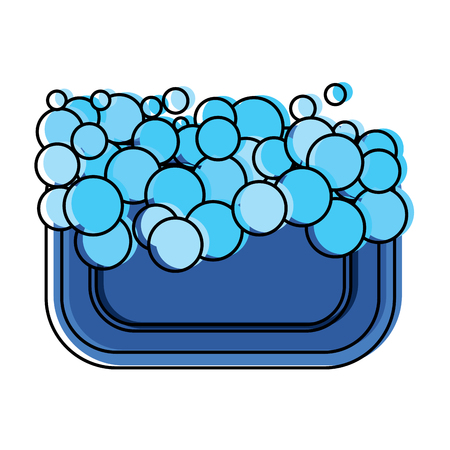 soap foam bubbles clean hygiene icon vector illustration