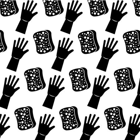 cleaning hygiene sponge and gloves wallpaper vector illustration  イラスト・ベクター素材