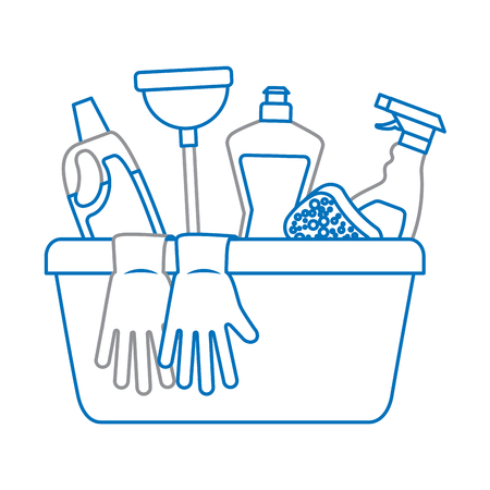 container with cleaning supplies vector illustration Çizim