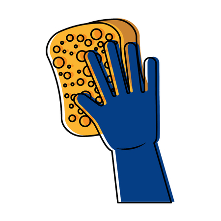 cleaning glove and sponge vector illustration