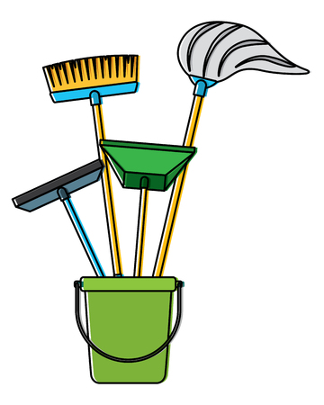 bucket full of janitor items vector illustration