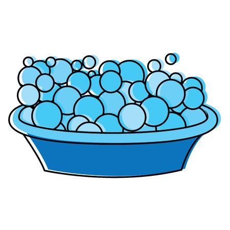 plastic basin container with foam bubbles vector illustraion