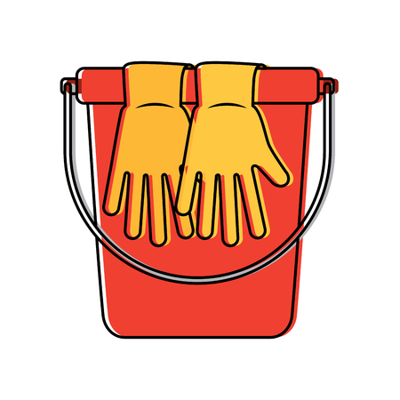 bucket and gloves vector illustration
