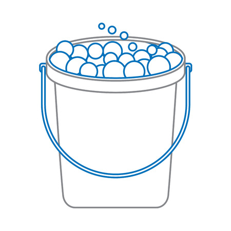 bucket with soap bubbles vector illustration