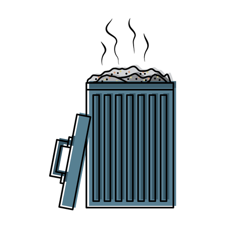 open bin with garbage cap vector illustration