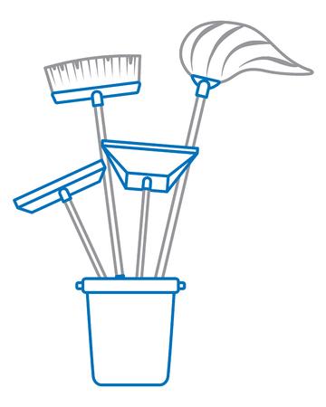 plastic bucket full of janitor tools vector illustration