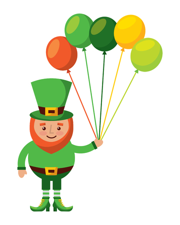 happy leprechaun holding a bunch of balloons decoration vector illustration Stock fotó - 95744724