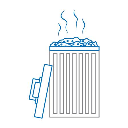 open bin with garbage cap vector illustration