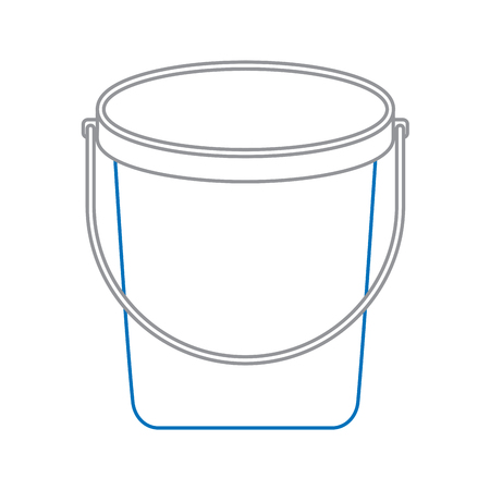 Bucket plastic cleaning element tool handle vector illustration blue and gray line design Illustration