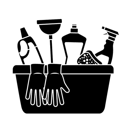 Container with cleaning supplies gloves plunger sponge spray bottle and detergent vector illustration black and white design Illusztráció