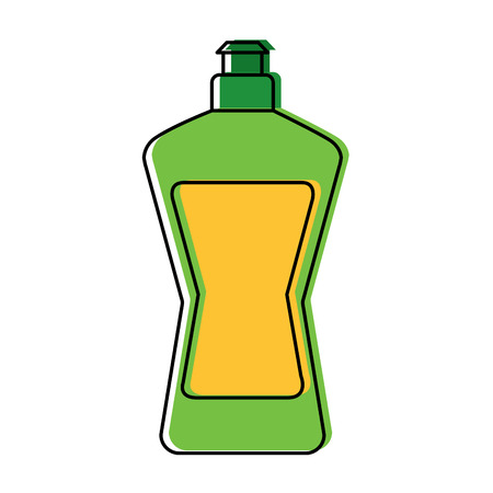 Plastic bottle for laundry and dishwashing liquid cleaning vector illustration