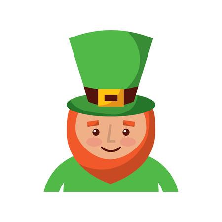 Kobold für St. Patricks Day Cartoon Charakter Porträt Vektor-Illustration Standard-Bild - 95743894