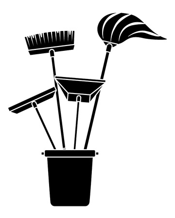 Various cleaning objects in a plastic bucket for janitorial cleaning tools vector illustration black and white design