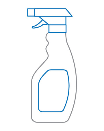 a plastic bottle spray hygiene cleaning vector illustration blue and gray line design