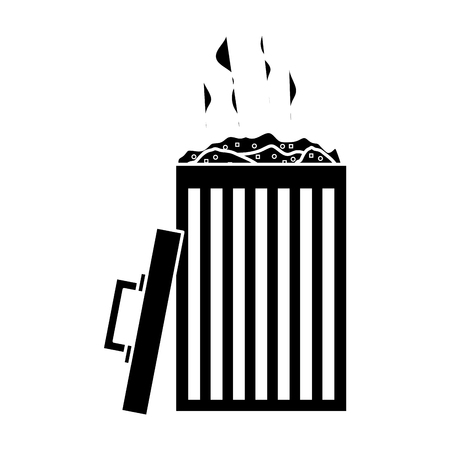 An open bin with full of garbage and a lid handle vector illustration black and white design Çizim