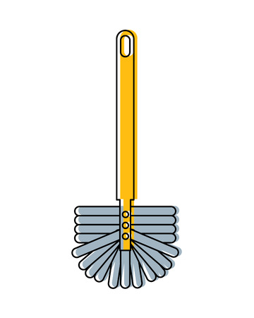 A toilet brush with handle for sanitary clean purposes, vector illustration