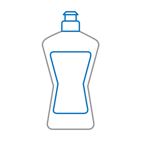 A plastic bottle for liquid detergent and dish washing cleaning agent vector illustration blue and gray line design Illustration