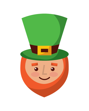 A leprechaun face with red beard green hat for St. Patricks day vector illustration