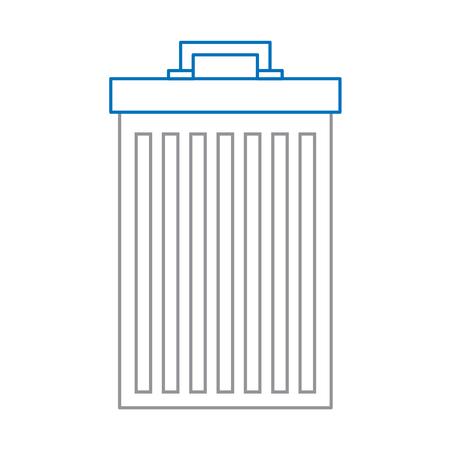 파란색과 회색 라인 디자인의 쓰레기 재활용 벡터 일러스트 레이 션 쓰레기통 컨테이너