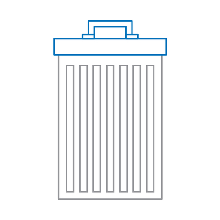 A trash can container for garbage recycling vector illustration in blue and gray line design Illustration